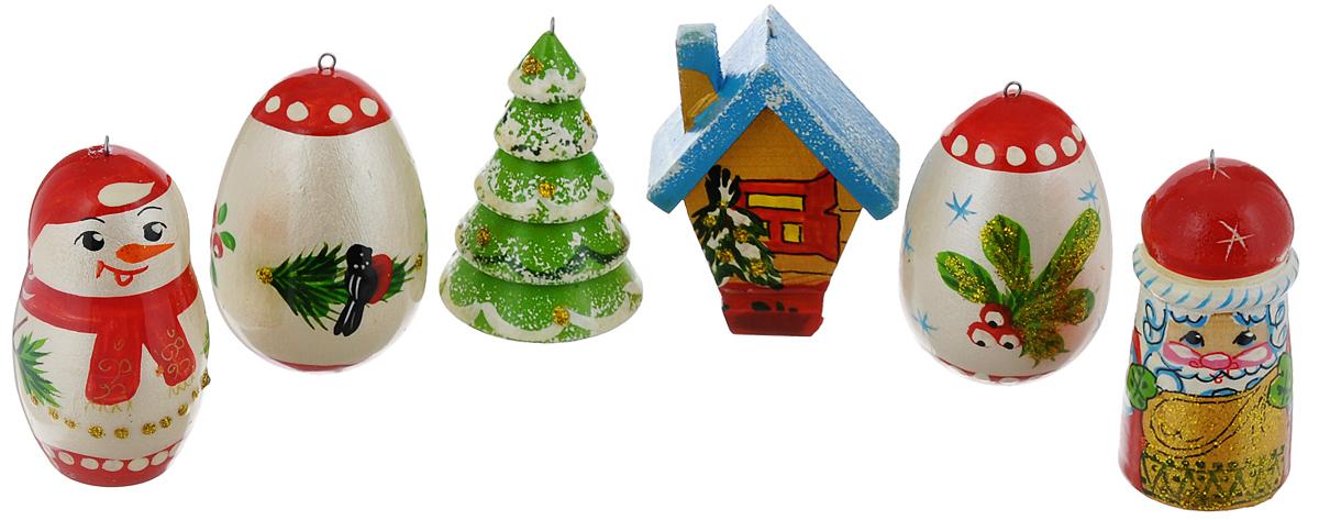 Набор елочных игрушек Василиса Матрешки. Новый Год, 6 шт. Ручная работанг.ва.еНабор игрушек Василиса Матрешки. Новый Год прекрасно подойдет для праздничного декора новогодней ели. Он включает 6 деревянных игрушек с ручной круговой росписью: Деда Мороза, снеговика, елки, избушки и 2 яиц. Каждая игрушка оснащена металлической петелькой, через которую можно пропустить шнурок. Елочная игрушка - символ Нового года. Она несет в себе волшебство и красоту праздника. Создайте в своем доме атмосферу веселья и радости, украшая новогоднюю елку нарядными игрушками, которые будут из года в год накапливать теплоту воспоминаний. Откройте для себя удивительный мир сказок и грез. Почувствуйте волшебные минуты ожидания праздника, создайте новогоднее настроение вашим дорогим и близким. Средний размер игрушек: 4 см х 4 см х 6 см.