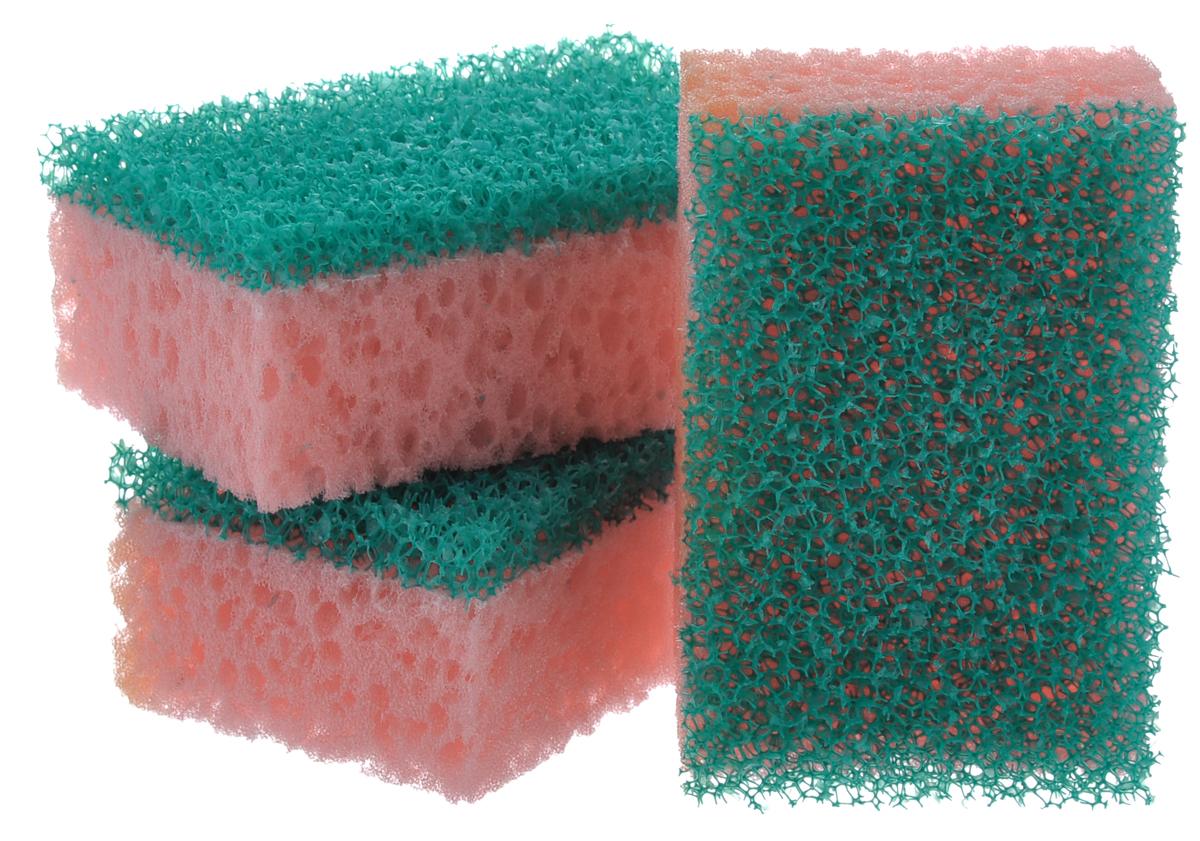 Губки для посуды La Chista Люкс, цвет: розовый, зеленый, 3 шт870147_розовый/зелёныйГубки для посуды La Chista Люкс идеально справляются с любыми загрязнениями даже без моющего средства. Выполнены из мягкого поролона и абразивного материала. Особенности: Изготовлены из экологически чистого сырья. Не содержат фреонов и метилгидрохлорида. Высокая плотность поролона экономит моющее средство. Особо прочные абразивные материалы.