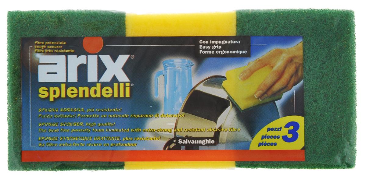 Губки для посуды Arix, цвет: желтый, зеленый, 3 штAR124Губки для посуды Arix идеально справляются с любыми загрязнениями. Изготовлены из поролона и сверхпрочной фибры, имеют анатомическую форму. В наборе - 3 губки. С губками Arix ваша посуда будет чистой!
