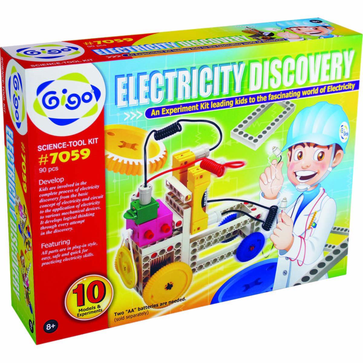 Gigo Конструктор Electricity discovery (Гиго. Электрическая энергия)7059Конструктор Gigo Electricity discovery (Гиго. Электрическая энергия) - это конструктор, все модели которого работают от электрической энергии. В наборе 90 деталей для 10 разных моделей. В инструкции пользователя пошаговые схемы сборки для каждой модели, полезная информация, исторические сведения и схемы проведения 8 экспериментов по электричеству. Конструктор развивает у детей фантазию, воображение и логику.