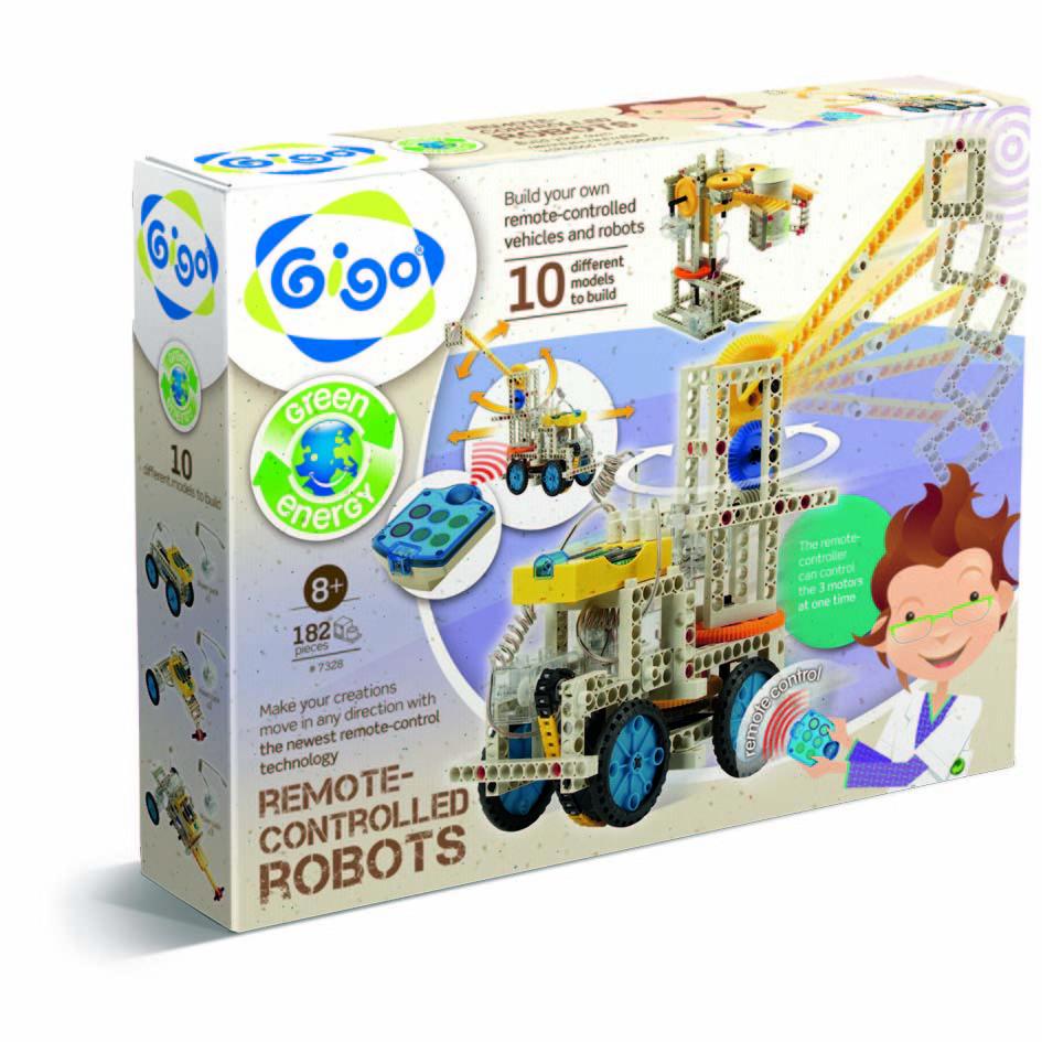 Gigo Конструктор Remote - controlled robots (Гиго. Управляемые роботы)7328Конструктор Gigo Remote - controlled robots (Гиго. Управляемые роботы) представляет сборку моделей с дистанционным управлением. С помощью 182 деталей и инструкции с подробным пошаговым описанием процесса сборки ребенок сможет собрать 10 интересных моделей. В набор входит блок дистанционного управления с емкостной сенсорной панелью. Развивает у детей воображение и технические навыки в форме увлекательной игры с дистанционно управляемыми игрушками, создавая модели, использующие различные принципы электроники, физики и механики.