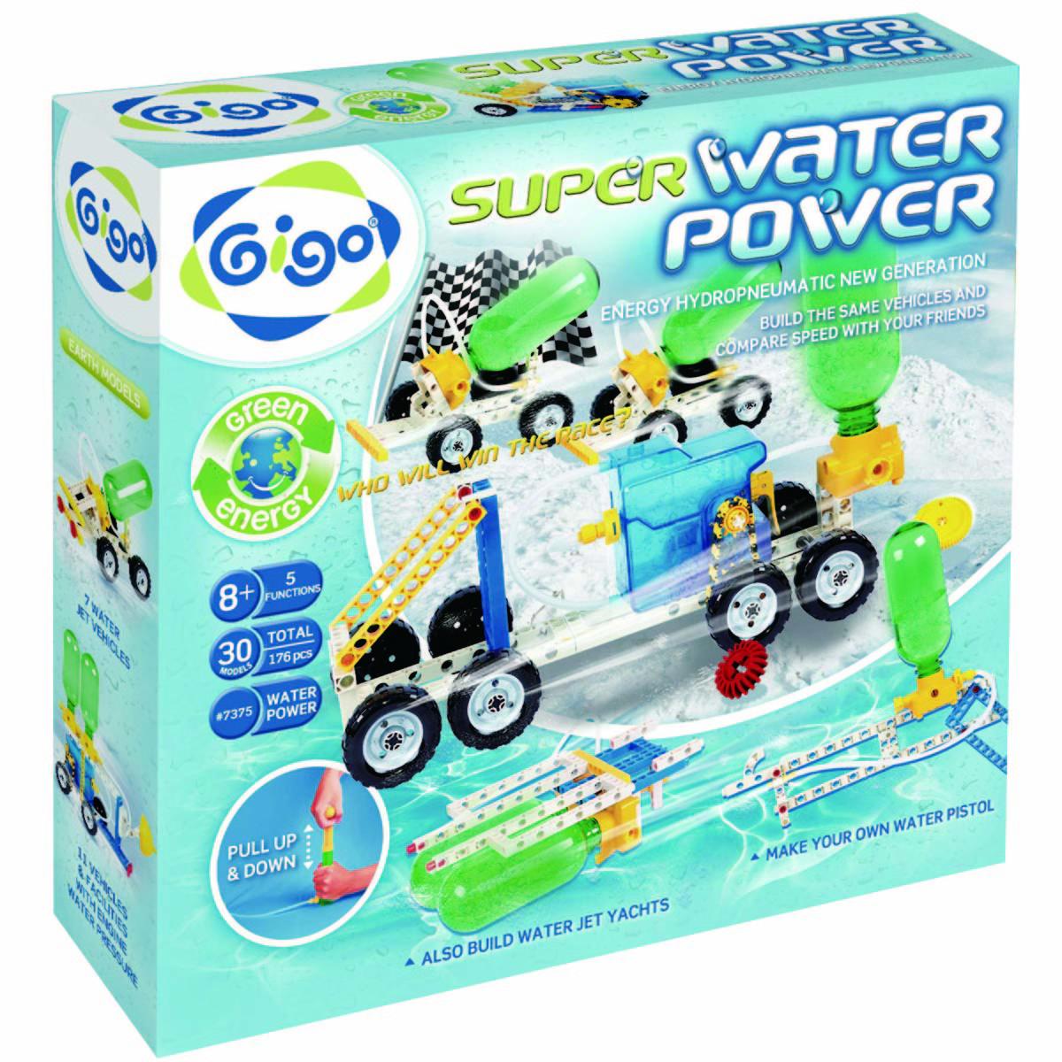 Gigo Конструктор Super water power (Гиго. Энергия воды - Макси)7375Конструктор Gigo Super water power (Гиго. Энергия воды - Макси). В наборе модели не требуют батареек, так как используют энергию давления воды и воздуха. Представлен новый гидропневматический мотор и новый большой насос. Из деталей конструктора Ваш ребенок может собрать по две одинаковые модели и устраивать с друзьями соревнование моделей.