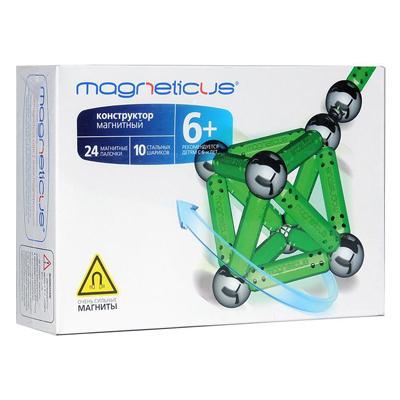 Magneticus Конструктор магнитный 34 элемента, цвет зеленыйМК-0034 GMagneticus конструктор 34 элементов (зеленый). Очень полезная игрушка для ребенка любого возраста. С ее помощью можно строить молекулярные решетки кристаллов, макеты молекул и объемных геометрических фигур.