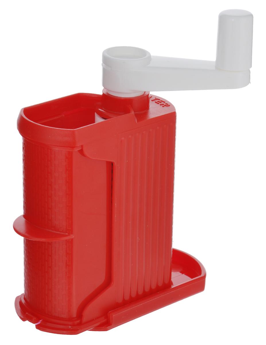 Терка настольная Rigamonti, цвет: красный, белый4332_красныйУдобная настольная терка Rigamonti прекрасно дополнит коллекцию ваших кухонных аксессуаров. Предназначена для твердого сыра. Корпус изделия выполнен из прочного пищевого пластика, барабан - из высококачественной нержавеющей стали. Такая терка позволяет тереть сыр непосредственно на тарелку с едой. Размер терки (без учета ручки): 10 см х 5,5 см х 13,5 см.