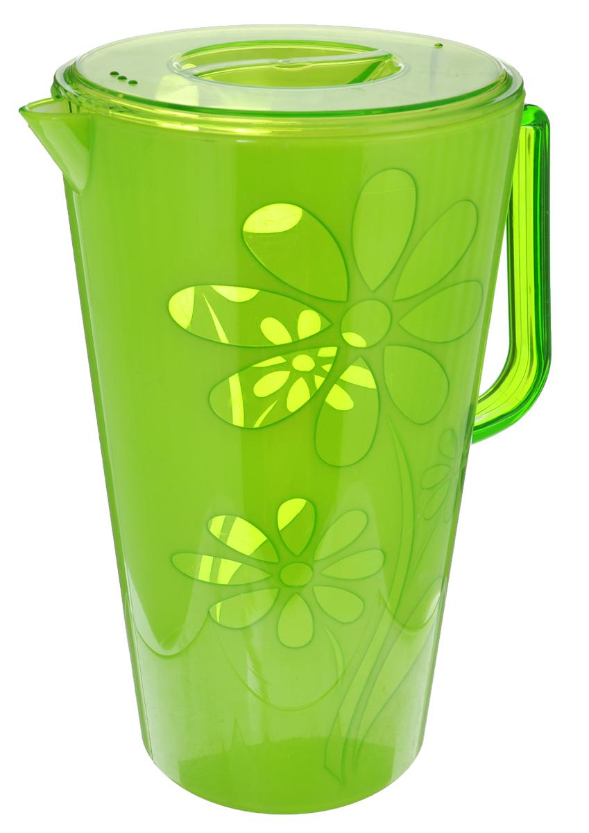 Кувшин Альтернатива Соблазн, с крышкой, цвет: зеленый, 2,5 лМ2304Кувшин Альтернатива Соблазн, выполненный из высококачественного пластика и декорированный цветочным рисунком, элегантно украсит ваш стол. Кувшин оснащен удобной ручкой и плотно закрывающейся пластиковой крышкой. Изделие имеет носик для выливания жидкости. Подойдет для подачи воды, сока, компота и других напитков. Кувшин Альтернатива Соблазн дополнит интерьер вашей кухни и станет замечательным подарком к любому празднику. Объем: 2,5 л. Диаметр (по верхнему краю): 14,5 см. Диаметр основания: 10,5 см. Высота кувшина: 24 см.