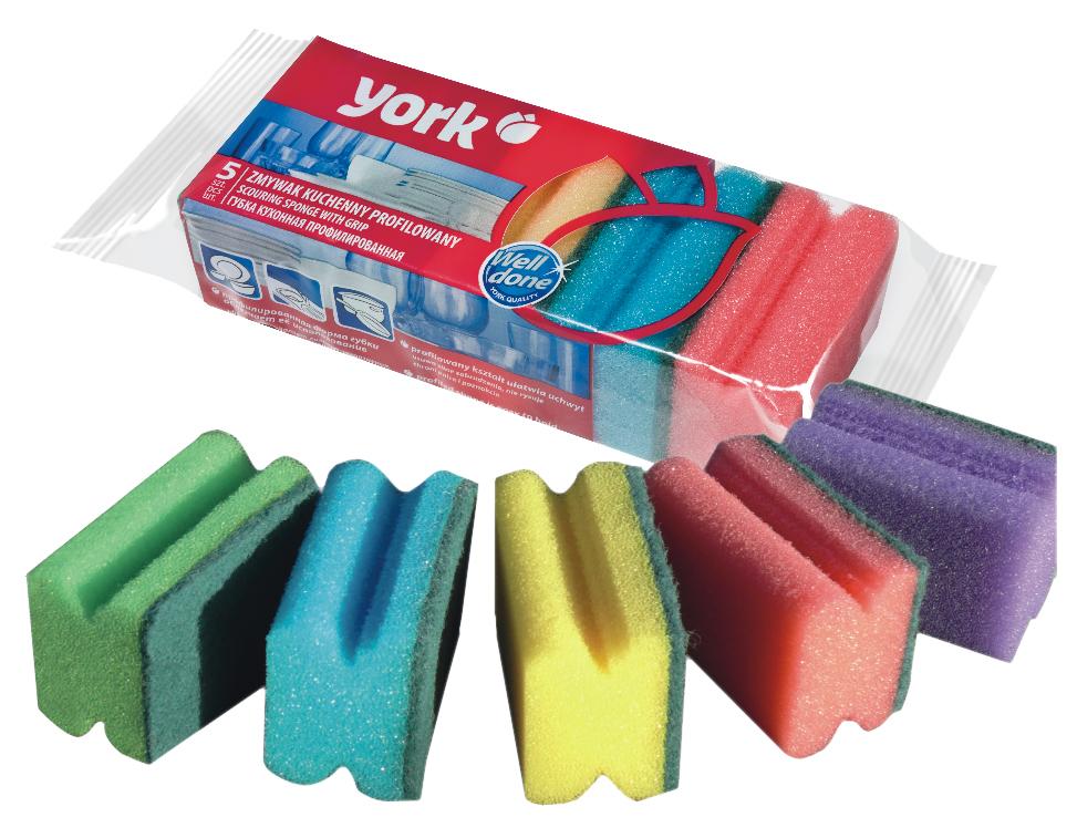 Губки для мытья посуды York, профилированные, 5 шт3102Губки для мытья посуды York, выполненные из сложных полимеров, эффективно удаляют даже сильные загрязнения, а также жир. Они отлично впитывают воду и хорошо пенятся. Губки York сохраняют чистоту и свежесть даже после многократного применения. Размер губки: 8 см х 6 см х 4 см.