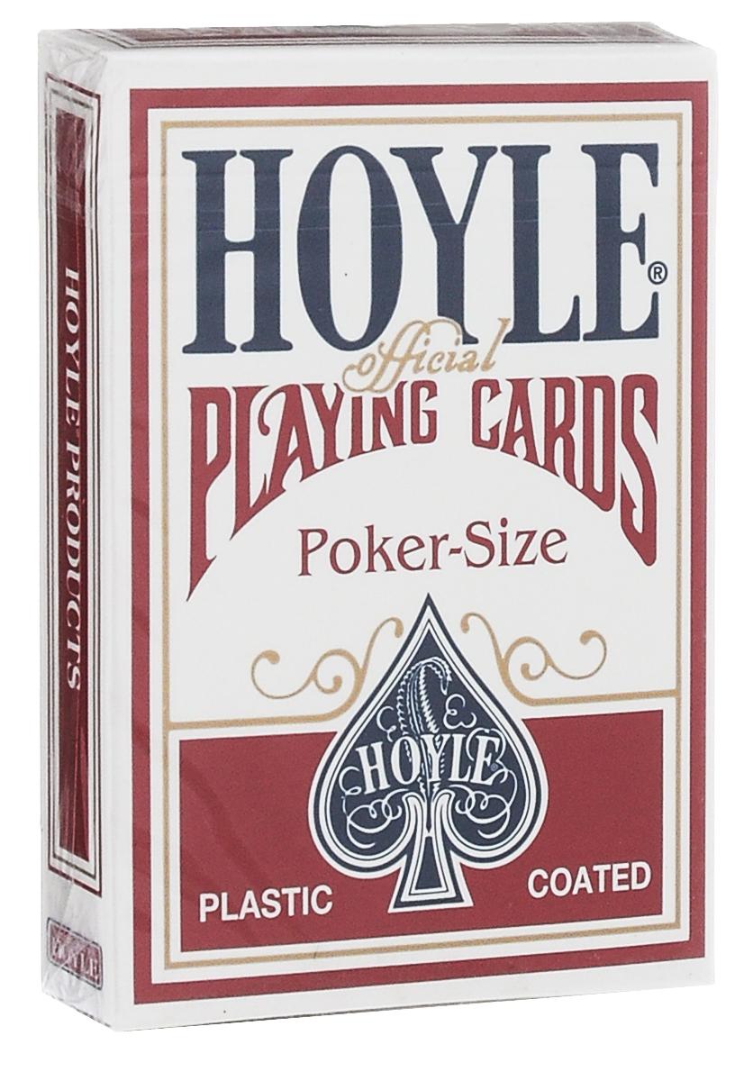 Карты игральные Hoyle, цвет: красный, белый, синийК-084Эта высококачественная карточная колода подходит для любых карточных фокусов, а также для игры в покер. Колода включает в себя инструкции для самой популярной теперь формы игры Texas Hold Em. Карты имеют покерный размер.