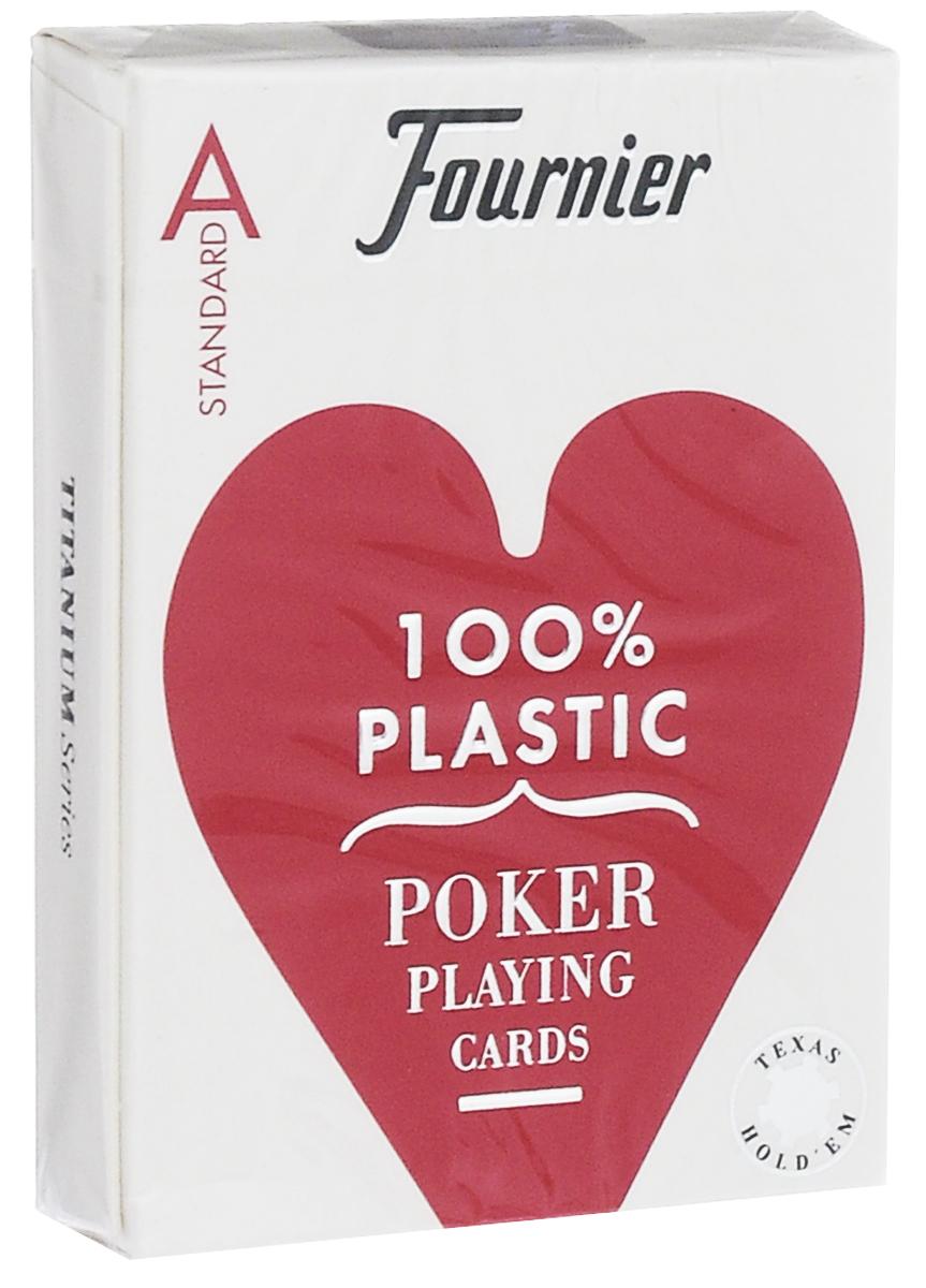 Карты игральные Fournier № 2500, стандартный индекс, цвет: красный, белый, 55 листовК-523Профессиональные карты для покера Fournier 2500 – это карты от известного испанского производителя, продукция которого завоевала мировую популярность. Карты изготовлены по современным покерным стандартам и технологиям, они отличаются высокими износостойкими характеристиками, а пластиковое покрытие не стирается и не осыпается, несмотря на интенсивное использование. Покерные карты Fournier 2500 приятно держать в руках, они не слипаются, и их хорошо принимает шафл-машинка. Высокая четкость изображения рисунков и цифр на картах позволяет их хорошо видеть с любого места за столом. Карты имеют покерный размер и стандартный индекс. Такие карты отлично в одинаковой мере хорошо подойдут для игры как среди начинающих игроков, так и профессионалов покера. Колода содержит 55 листов.