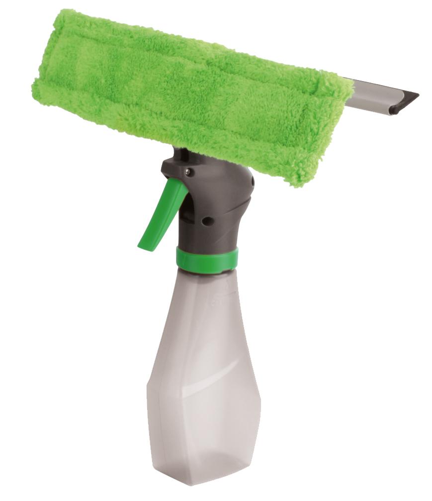 Стекломойка York, с распылителем, с насадкой, с водосгоном, цвет: салатовый, серый8404Стекломойка York с насадкой из микрофибры, съемным резиновым водосгоном и распылителем станет незаменимым помощником при уборке. Ее можно использовать для мытья стекол как дома, так и в автомобиле. Удобная рукоятка выполнена из пластика и имеет телескопическую форм. Оригинальная, современная и удобная стекломойка сделает уборку эффективнее и приятнее. Размер насадки: 26 см х 6 см х 2 см. Размер водосгона: 25,2 см х 2 см. Объем распылителя: 250 мл.