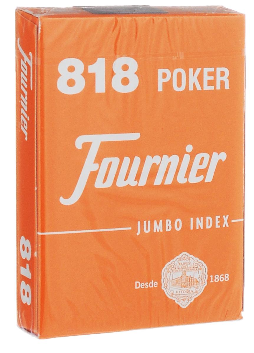 Карты игральные Fournier №818, крупный индекс, цвет: оранжевый, белый, 55 штК-511Игральные карты Fournier №818 с пластиковым покрытием имеют стандартный покерный размер и увеличенный индекс. Эти карты прослужат вам долго, не зря они рекомендованы для покерных клубов и казино, где сумасшедшая нагрузка на карты. В колоде 55 карт.