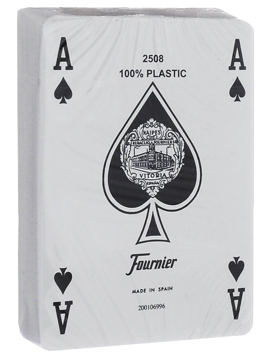 Карты игральные Fournier № 2818, покерный размер, стандартный индекс, цвет: синий, белый, 55 штК-522Классические карты Fournier выполнены из высококачественного пластика. Они имеют покерный размер и стандартный индекс. Рубашка выполнена в фирменном дизайне. Эти карты прослужат вам долго, не зря они рекомендованы для покерных клубов и казино, где сумасшедшая нагрузка на карты. В колоде 55 карт (3 джокера).