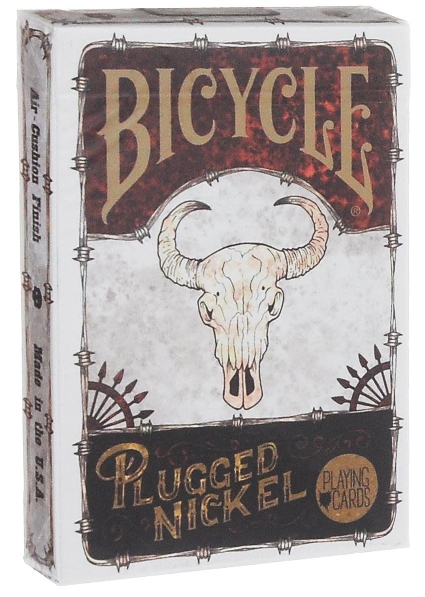 Карты игральные Bicycle Plugged Nickel, цвет: белый, коричневый, 54 штК-493Карты Bicycle Plugged Nickel выполнены из высококачественного картона. На картинках изображены скелеты ковбоев. Они огорожены колючей проволокой. Все герои колоды прорисованы ярко и детально. Колода пропитана тематикой старого запада США. Такие игральные карты превосходно подойдут как для игры, так и для личной коллекции. Карты под брендом Bicycle всегда отличаются уникальным и неповторимым дизайном. Подходят для покера и других карточных игр.