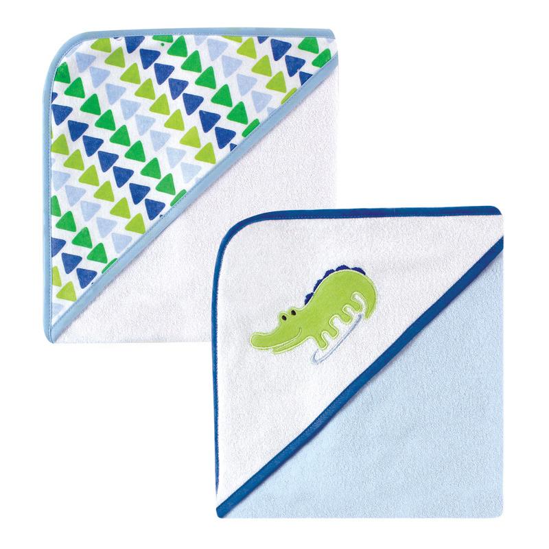 Luvable Friends Полотенце с капюшоном Крокодил (махра), 71х71 см, 2 шт, цвет голубой