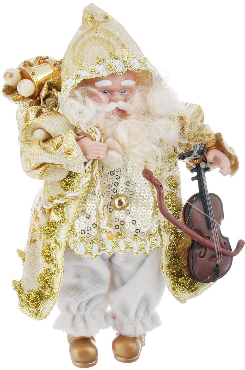 Кукла коллекционная Русские Подарки Санта Клаус, цвет: белый, золотистый, 18 см. 7484074840Коллекционная кукла Русские Подарки Санта Клаус создаст новогоднее настроение в вашем доме. Кукла выполнена из высококачественных материалов в виде Санта Клауса в кафтане белого и золотистого цветов. За спиной у него мешок с подарками, а в руке - музыкальный инструмент. Прекрасный подарок для близких и друзей к Новому Году! Высота куклы: 18 см.