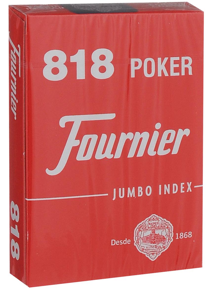 Карты игральные Fournier №818, стандартный индекс, цвет: красный, белый, 55 штК-508Карты для покера Fournier №818 – это карты от известного испанского производителя, продукция которого завоевала мировую популярность. Карты изготовлены по современным покерным стандартам и технологиям, они отличаются высокими износостойкими характеристиками, а пластиковое покрытие не стирается и не осыпается, несмотря на интенсивное использование. Покерные карты Fournier №818 приятно держать в руках, они не слипаются, и их хорошо принимает шафл-машинка. Высокая четкость изображения рисунков и цифр на картах позволяет их хорошо видеть с любого места за столом. Карты имеют покерный размер и стандартный индекс. В колоде 55 карт.