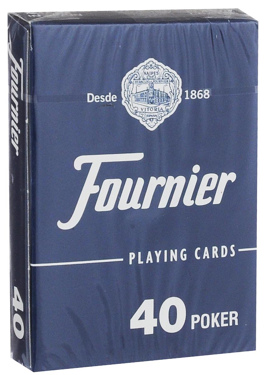 Карты игральные Fournier №40, стандартный индекс, цвет: синий, 55 штК-513_синийКлассические карты Fournier №40 выполнены из высококачественного гладкого пластика. Они имеют покерный размер и стандартный индекс. Эти карты прослужат вам долго, не зря они рекомендованы для покерных клубов и казино, где сумасшедшая нагрузка на карты. В колоде 55 карт (52 карты, 3 джокера + рекламная карта).