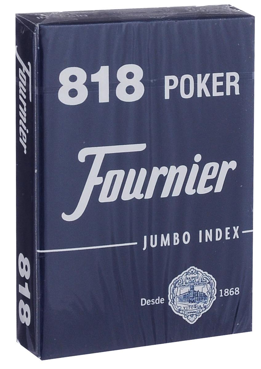 Карты игральные Fournier №818, стандартный индекс, цвет: синий, белый, 55 штК-509Карты для покера Fournier №818 – это карты от известного испанского производителя, продукция которого завоевала мировую популярность. Карты изготовлены по современным покерным стандартам и технологиям, они отличаются высокими износостойкими характеристиками, а пластиковое покрытие не стирается и не осыпается, несмотря на интенсивное использование. Покерные карты Fournier №818 приятно держать в руках, они не слипаются, и их хорошо принимает шафл-машинка. Высокая четкость изображения рисунков и цифр на картах позволяет их хорошо видеть с любого места за столом. Карты имеют покерный размер и стандартный индекс. В колоде 55 карт.