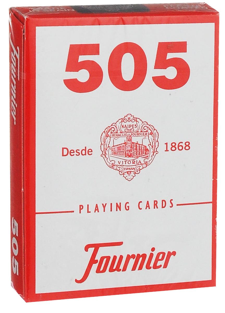 Карты игральные Fournier №505, стандартный индекс, цвет: красный, 55 штК-512Карты для покера Fournier №505 – это карты от известного испанского производителя, продукция которого завоевала мировую популярность. Карты изготовлены по современным покерным стандартам и технологиям, они отличаются высокими износостойкими характеристиками, а пластиковое покрытие не стирается и не осыпается, несмотря на интенсивное использование. Покерные карты Fournier №505 приятно держать в руках, они не слипаются, и их хорошо принимает шафл-машинка. Высокая четкость изображения рисунков и цифр на картах позволяет их хорошо видеть с любого места за столом. Карты имеют покерный размер и стандартный индекс. Колода содержит 55 карт (52 карты, 3 джокера и одну рекламную карту).