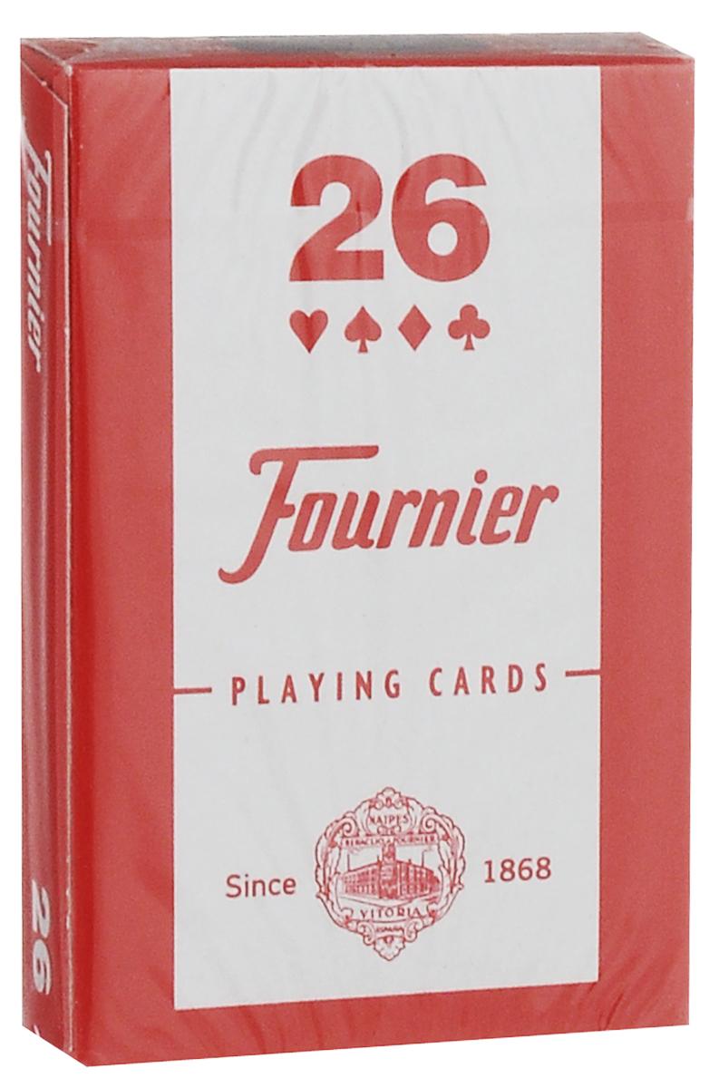 Карты игральные Fournier №26, бриджевый размер, стандартный индекс, цвет: красный, синий, белый, 55 штК-506Карты для покера Fournier №26 – это карты от известного испанского производителя, продукция которого завоевала мировую популярность. Карты изготовлены по современным покерным стандартам и технологиям, они отличаются высокими износостойкими характеристиками, а пластиковое покрытие не стирается и не осыпается, несмотря на интенсивное использование. Покерные карты Fournier №26 приятно держать в руках, они не слипаются, и их хорошо принимает шафл-машинка. Высокая четкость изображения рисунков и цифр на картах позволяет их хорошо видеть с любого места за столом. Карты имеют бриджевый размер и стандартный индекс. Такие карты отлично в одинаковой мере хорошо подойдут для игры как среди начинающих игроков, так и профессионалов покера. В колоде 55 карт.