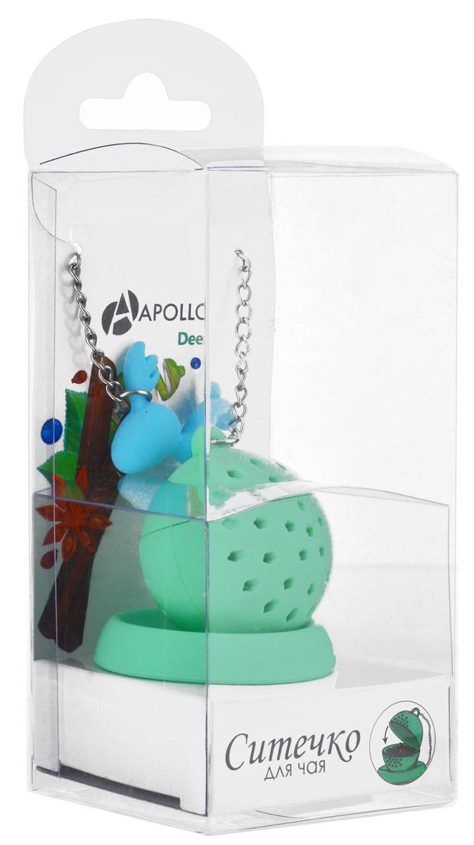 Ситечко для чая Apollo Deer, с подставкой, цвет: салатовый, голубойDER-01_салатовыйСитечко для чая Apollo Deer прекрасно подходит для заваривания любого вида чая. Ситечко выполнено из силикона в форме шара, оно снабжено подставкой и металлической цепочкой с фигуркой оленя. Изделие очень легко использовать: просто засыпьте в ситечко заварку и опустите его в кружку. Подставка предотвращает образование подтеков на столе. Стильное и функциональное ситечко станет незаменимым атрибутом чаепития дома или на работе. Диаметр ситечка: 3,5 см. Диаметр подставки: 4,5 см. Длина цепочки: 12 см.