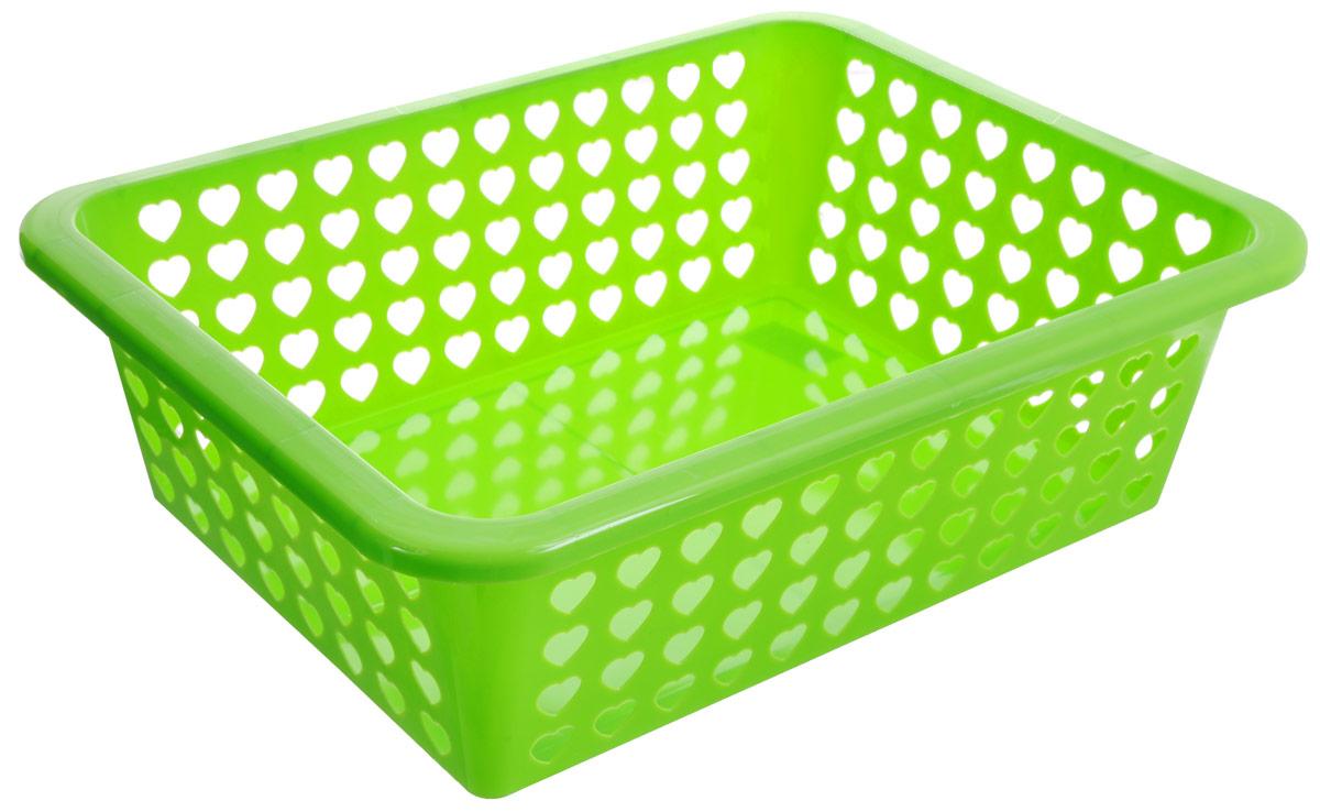 Корзина Альтернатива Вдохновение, цвет: салатовый, 39,5 х 30 х 12 смМ611_зеленыйКорзина Альтернатива Вдохновение выполнена из пластика и оформлена перфорацией в виде сердечек. Изделие имеет сплошное дно и жесткую кромку. Корзина предназначена для хранения мелочей в ванной, на кухне, на даче или в гараже. Позволяет хранить мелкие вещи, исключая возможность их потери.