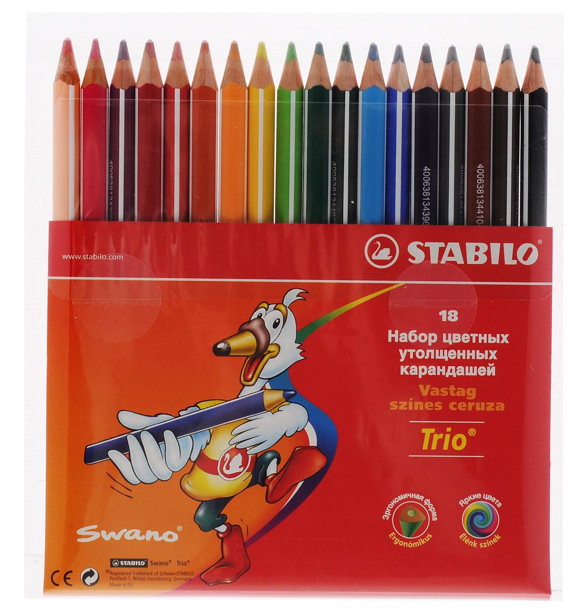 Stabilo Цветные карандаши Trio 18 цветов203/18-03Серия утолщенных трехгранных цветных карандашей Stabilo Trio. Трехгранная форма карандаша предотвращает усталость детской руки при рисовании и позволяет привить ребенку навык правильно держать пишущий инструмент. Подходят для правшей и для левшей. Утолщенный грифель, особо устойчивый к поломкам. В состав грифелей входит пчелиный воск, благодаря чему карандаши легко рисуют на бумаге, не царапая ее и не крошась.