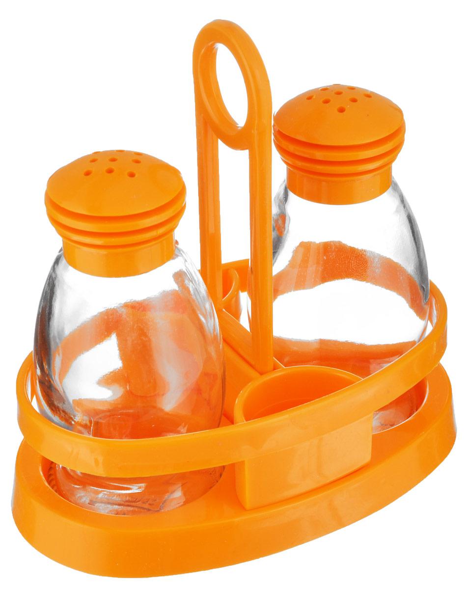 Набор для специй Herevin Mirage, цвет: оранжевый, 3 предмета122020-000_оранжевыйНабор для специй Herevin Mirage состоит из солонки, перечницы и подставки. Емкости выполнены из стекла, подставка и крышки изготовлены из пластика. Подставка оснащена двумя емкостями для зубочисток. Такой набор красиво и оригинально оформит ваш кухонный стол. Объем емкостей: 85 мл. Размер емкостей: 5 см х 5 см х 10,5 см. Размер подставки: 13,5 см х 8 см х 13,5 см.