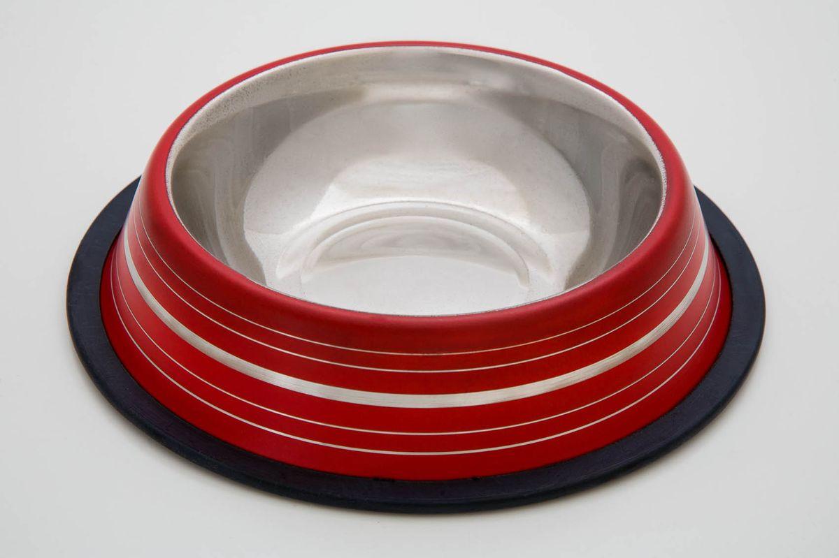Миска нескользящая красная с полосой , 240 мл