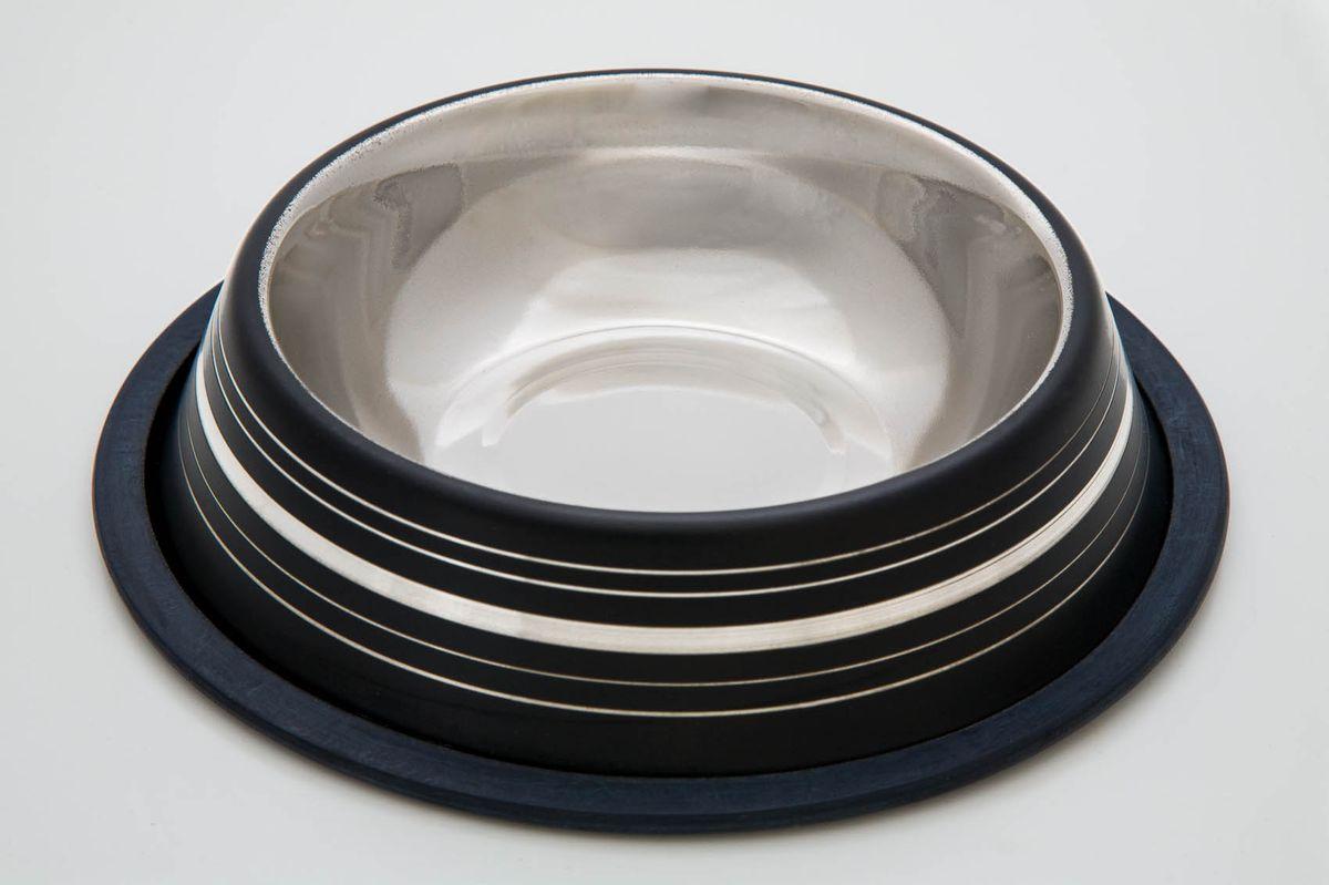 Миска нескользящая черная с полосой, 470 мл3051