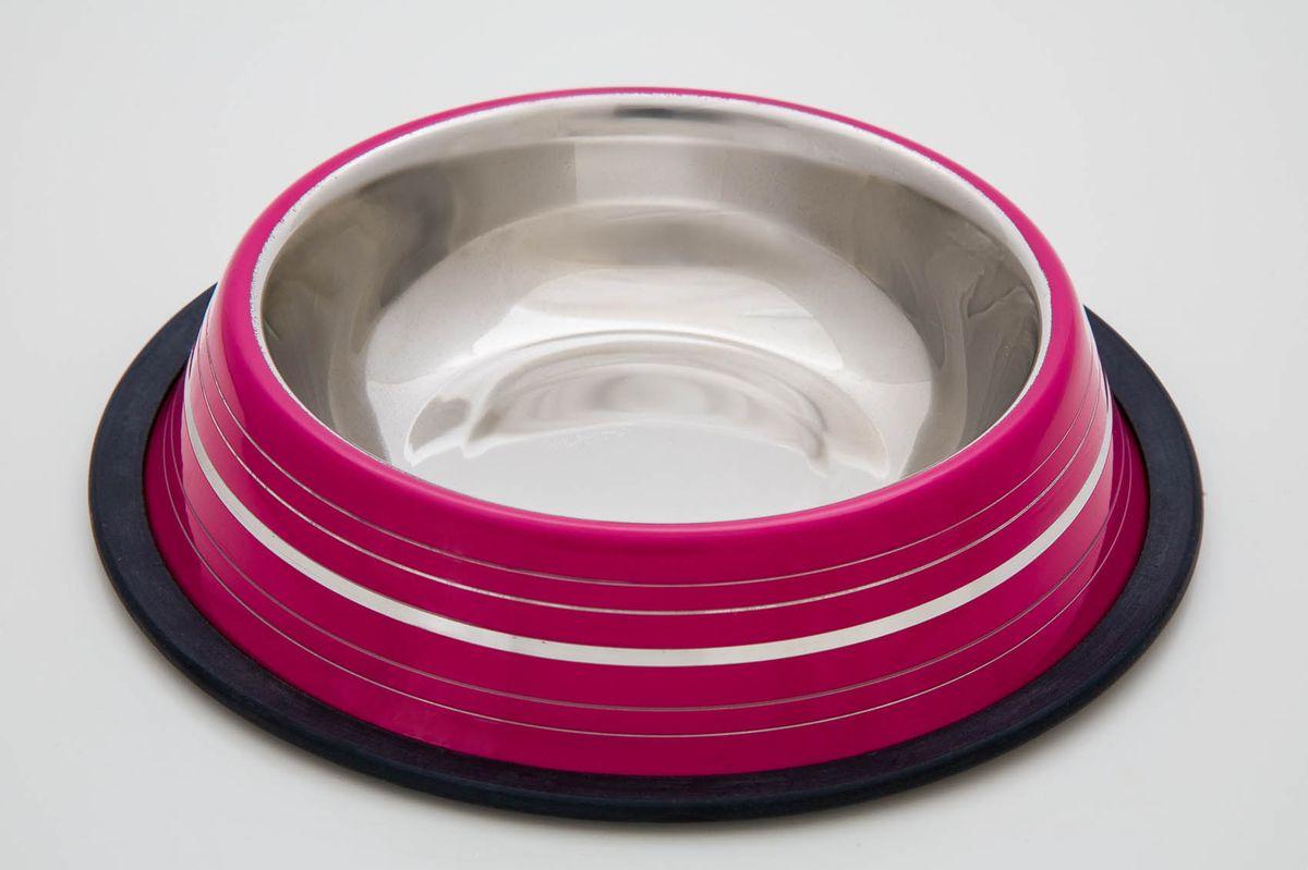 Миска нескользящая розовая с полосой, 700 мл
