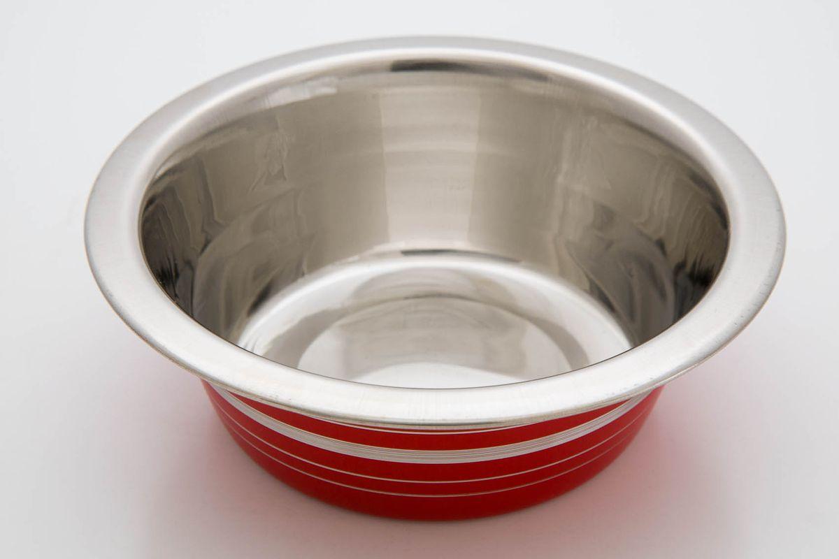 Миска красная с полосой эконом, 240 мл3120
