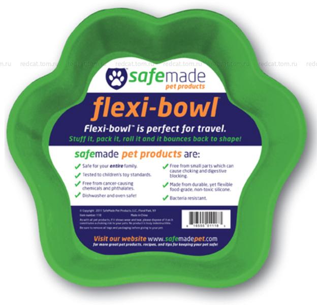 Миска гибкая Flex Safe - Большая, 22 см, зеленая, 1000 мл