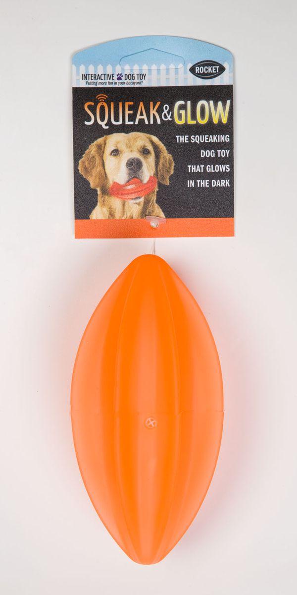Игрушка для собак Squeak & Glow Светящийся мяч, с пищалкой, цвет: оранжевый6057Игрушка для собак Squeak & Glow Светящийся мяч, выполненная из натурального нетоксичного каучука, снабжена пищалкой. Изделие подходит для игр на улице в вечернее время, так как светится в темноте и его хорошо видно в траве и листве. Игрушка Squeak & Glow Светящийся мяч - отличная альтерналива обычным палкам.
