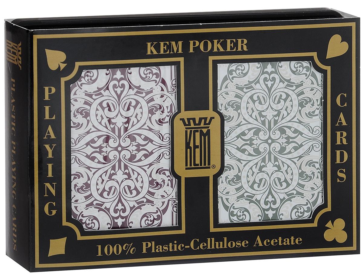 Карты игральные Kem Jacquard Wide, крупный индекс, цвет: бордовый, зеленый, белый, 2 колодыК-501Вашему вниманию представляются коллекционные карты Kem Jacquard Wide - одни из лучших покерных карт на рынке. Они выполнены из прочного, гладкого и гибкого пластика. Карты имеют покерный размер и крупный индекс. В наборе 2 колоды.