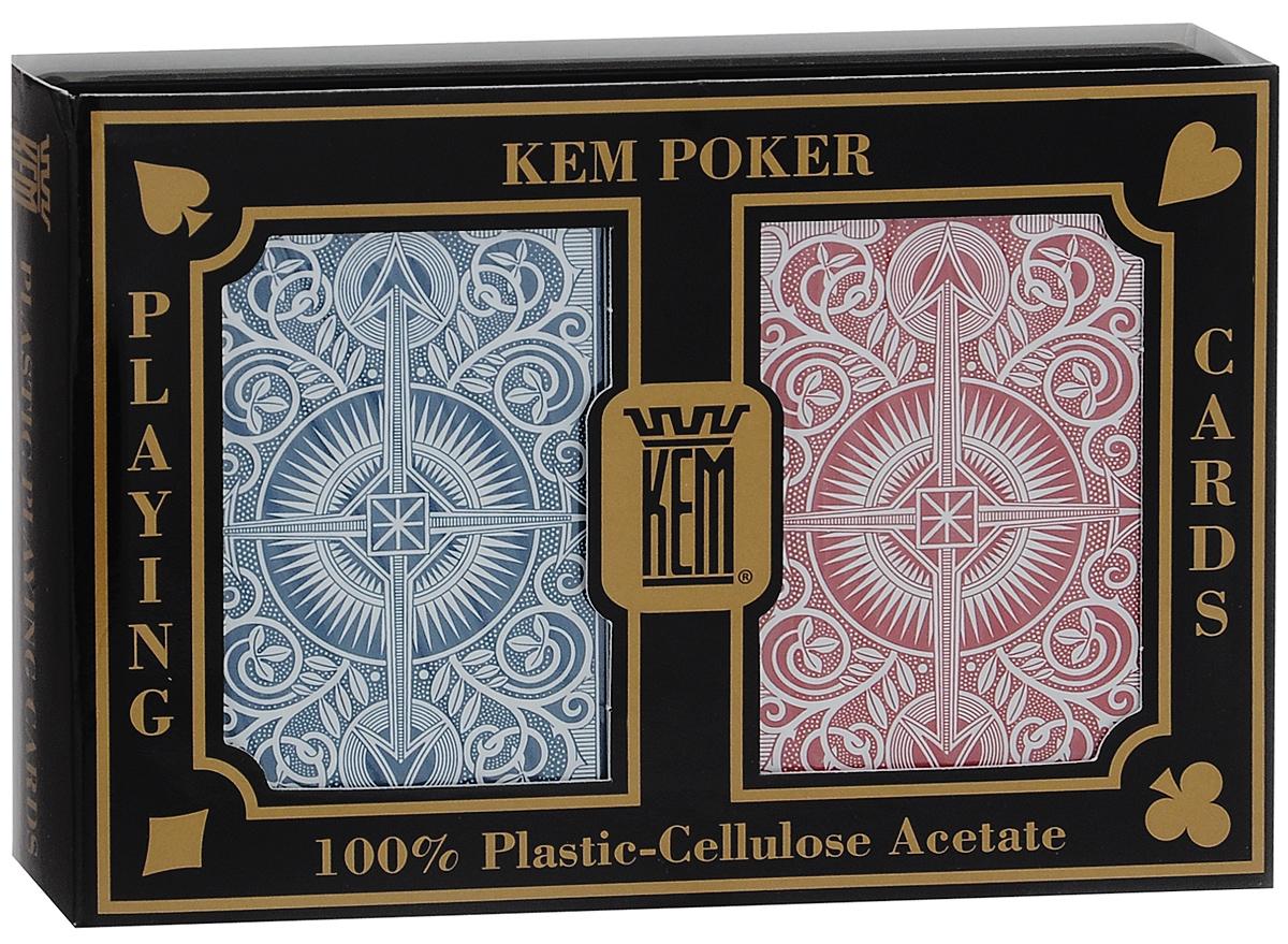 Карты игральные Kem Arrow Wide, крупный индекс, цвет: синий, красный, белый, 2 колодыК-498Вашему вниманию представляются коллекционные карты Kem Arrow - одни из лучших покерных карт на рынке. Они выполнены из прочного, гладкого и гибкого пластика. Карты имеют покерный размер и крупный индекс. В наборе 2 колоды.