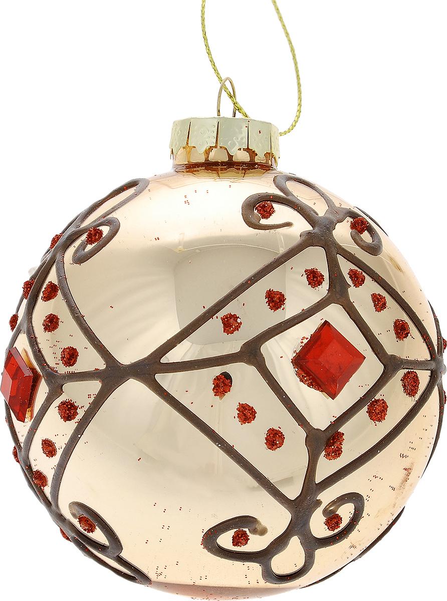 Новогоднее подвесное украшение Феникс-Презент Восточные узоры, цвет: красный, серебристый, диаметр 8 см38394Подвесное украшение Феникс-Презент Восточные узоры, выполненное из стекла, прекрасно подойдет для праздничного декора вашей ели. Оригинальное новогоднее украшение в виде шара оформлено блестками и стразами. С помощью специальной текстильной петельки его можно повесить в любом понравившемся вам месте. Но удачнее всего такая игрушка будет смотреться на праздничной елке. Елочная игрушка - символ Нового года и Рождества. Она несет в себе волшебство и красоту праздника. Создайте в своем доме атмосферу веселья и радости, украшая новогоднюю елку нарядными игрушками, которые будут из года в год накапливать теплоту воспоминаний.