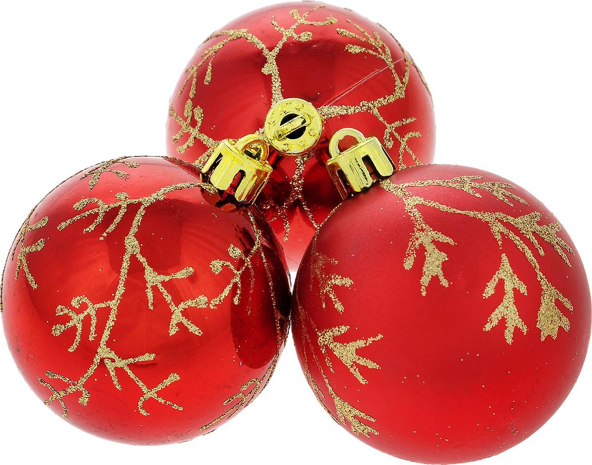 Набор новогодних подвесных украшений EuroHouse Веточки, цвет: красный, золотистый, диаметр 6 см, 3 штЕХ9267_красныйНабор новогодних подвесных украшений EuroHouse прекрасно подойдет для праздничного декора новогодней ели. Набор состоит из 2 пластиковых украшений в виде глянцевых шаров и 1 матового. Для удобного размещения на елке для каждого изделия предусмотрена текстильная петелька. Елочная игрушка - символ Нового года. Она несет в себе волшебство и красоту праздника. Создайте в своем доме атмосферу веселья и радости, украшая новогоднюю елку нарядными игрушками, которые будут из года в год накапливать теплоту воспоминаний.