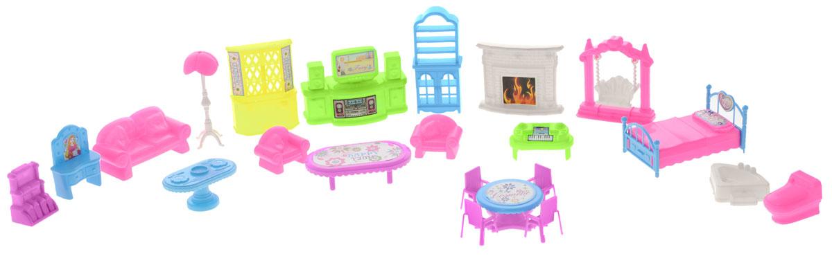 S+S Toys Мебель для кукол Игрушки для подружки 22 предмета72661,EJ80489RМебель для кукол Игрушки для подружки привлечет внимание вашей малышки и не позволит ей скучать. Это замечательный игровой набор, который станет отличным подарком для вашего ребенка. Придумывая множество ситуаций, ребенок весело и интересно проведет время. Детали изготовлены из качественного и прочного пластика ярких цветов. Игра с таким набором способствует развитию детского воображения, мелкой моторики рук и фантазии. Набор подходит для пупсов высотой 7 см, состоит из 22 предметов. В набор входят все необходимые аксессуары и элементы интерьера.