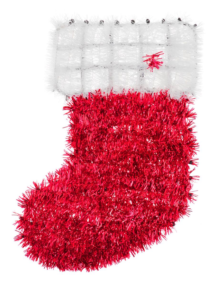 Новогоднее декоративное украшение EuroHouse Носок, цвет: красный, белый, 33 см х 22 смЕХ 7429Новогоднее украшение EuroHouse Носок имеет прочный пластиковый каркас, декорированный мишурой. Такой носок дополнит интерьер любого помещения, а также может стать оригинальным подарком для ваших друзей и близких. Оформление помещения декоративным украшением создаст праздничную и теплую атмосферу. Новогодние украшения всегда несут в себе волшебство и красоту праздника. Создайте в своем доме атмосферу тепла, веселья и радости, украшая его всей семьей.