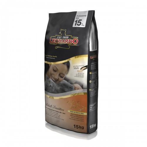 Leonardo Сухой корм для взрослых кошек Эдалт утка с рисом (для облегчения вывода комков шерсти из желудка) 15кг 56809