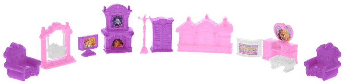 Игровой набор Замок мечты 11 предметов588459Набор мебели Замок мечты - это замечательный игровой набор, который станет отличным подарком для вашего ребенка. Придумывая множество ситуаций ребенок весело и интересно проведет время. Детали изготовлены из качественного и прочного пластика розового, белого и сиреневого цветов. Игра с таким набором способствует развитию детского воображения, мелкой моторики рук и фантазии. Набор состоит из 11 предметов.