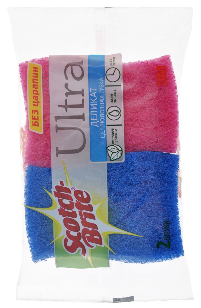 Губка целлюлозная Scotch-Brite Деликат, цвет: синий, розовый, 2 штXF-0045-0435-3_синий,розовыйЦеллюлозная губка Scotch-Brite Деликат предназначена для бережной очистки посуды и ухода за деликатными поверхностями (антипригарное покрытие, фарфор, стекло). Снабжена абразивным слоем для очистки сложных загрязнений. Губки быстро впитывают и долго служат.