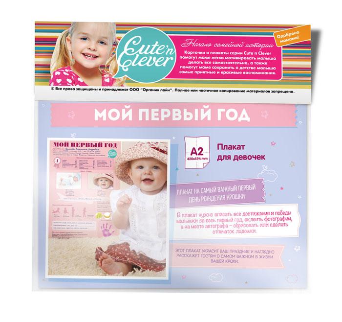 Cute\'n Clever Плакат для девочек День Рождения Мне 1 год ( 96 0031 )