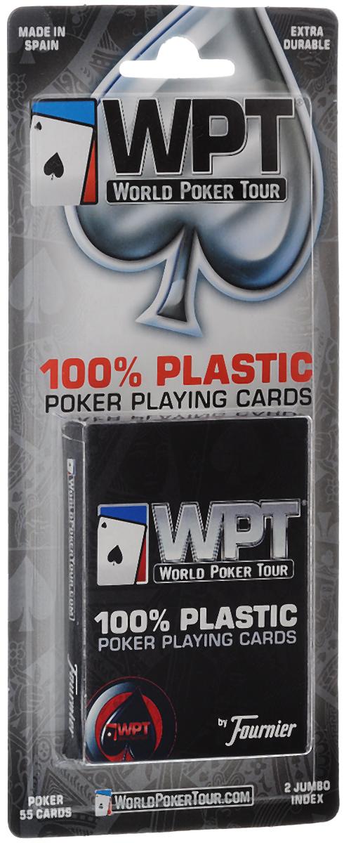 Карты игральные Fournier WPT, крупный индекс, цвет: синий, 55 штК-504Игральные карты Fournier специально выпущены для известной серии турниров по покеру - World Poker Tour (WPT). Карты изготовлены из 100% пластика, они прочные, гибкие, износоустойчивые и долговечные. Колода имеет стандартный покерный размер и классический дизайн. Индексы увеличены. Рубашка с мелким рябым узором, белой окантовкой и эмблемой WPT. В колоде 52 игральные карты, 2 джокера и карта Card Rankings.