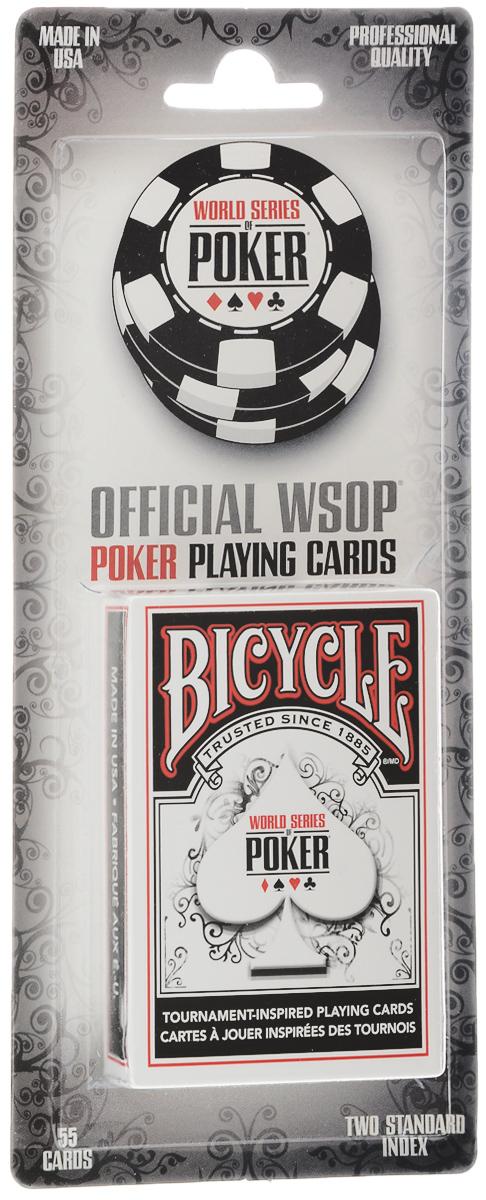 Карты игральные Bicycle WSOP, цвет: белый, красный, 55 листовК-503Игральные карты Bicycle WSOP изготовлены из высококачественного картона с покрытием Air-Cushion Finish. Они специально создавались для мировой серии покерных турниров - WSOP. Карты имеют стандартные индексы. В колоде 55 карт. Эти карты подойдут как для коллекции, так и для игры.