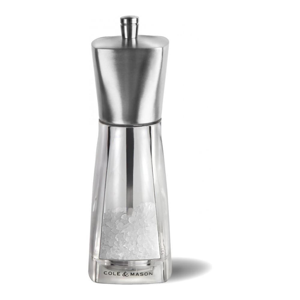 Мельница для соли Cole & Mason York, высота 16 смH59892PРучная мельница для соли Cole & Mason York - необходимый инструмент на любой кухне. Мельница предназначена для помола соли. Изделие выполнено из нержавеющей стали с матовой полировкой и стекла. Легко разбирается и моется. Мельница уже содержит соль. Размер мельницы: 5 х 5 х 16 см.