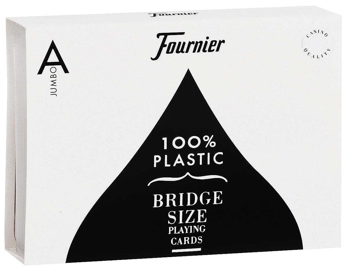 Карты игральные Fournier № 2525, бриджевый размер, стандартный индекс, цвет: красный, синий, белый, черный, 2 колодыК-527Вашему вниманию представляются карты Fournier - одни из лучших покерных карт на рынке. Карты отличаются превосходным качеством изготовления и выполнены в характерном классическом дизайне. Имеют бриджевый размер и стандартный индекс. В наборе 2 колоды, упакованные в фирменный пластиковый футляр для хранения. С такими картами действительно очень комфортно проводить турниры, ведь они имеют крупный индекс, легко читаются и обладают прекрасным скольжением. Они сделаны так, чтобы служить своему владельцу долгие годы, сохраняя при этом первозданный блеск, величие и красоту.