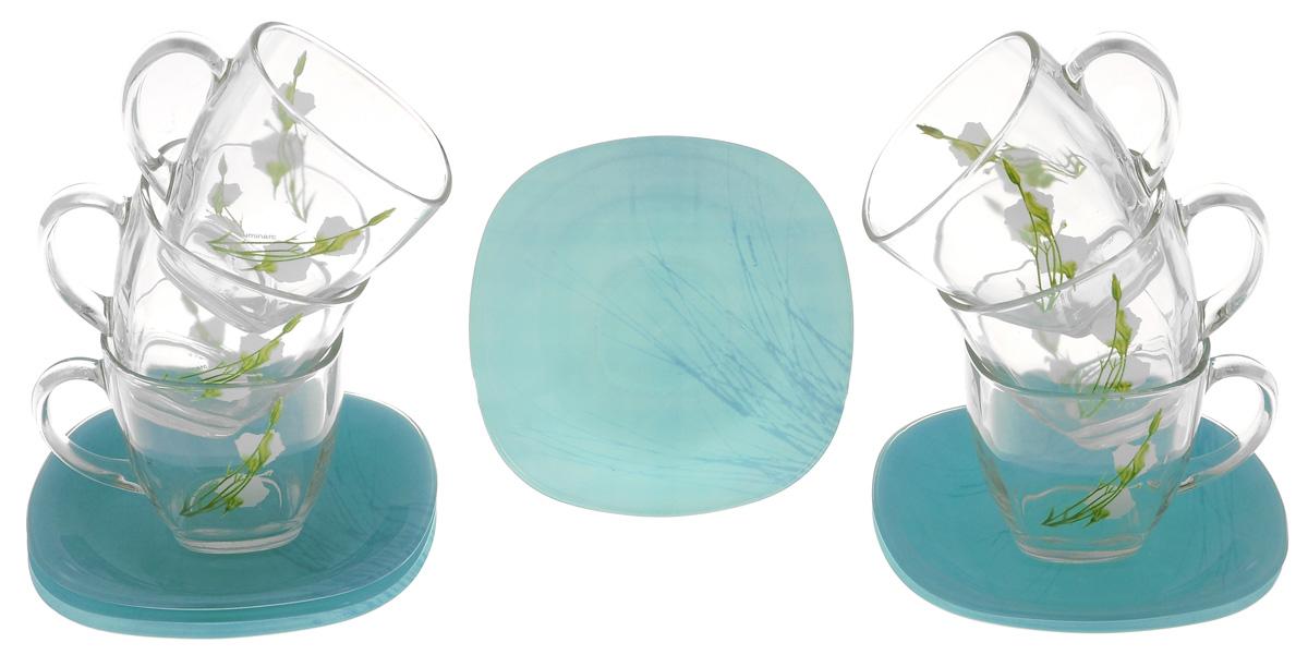 Набор чайный Luminarc Sofiane, цвет: голубой, прозрачный, 12 предметовJ7934Чайный набор Luminarc Sofiane изготовлен из высококачественного стекла. Набор состоит из шести чашек, декорированных цветочным узором, и шести блюдец. Элегантный дизайн и совершенные формы предметов набора привлекут к себе внимание и украсят интерьер вашей кухни. Чайный набор Luminarc Sofiane идеально подойдет для сервировки стола и станет отличным подарком к любому празднику. Можно использовать в микроволновой печи и мыть в посудомоечной машине. Объем чашек: 200 мл. Диаметр чашек по верхнему краю: 7,5 см. Высота чашек: 7,5 см. Размер блюдец: 13 см х 13 см х 1,5 см.