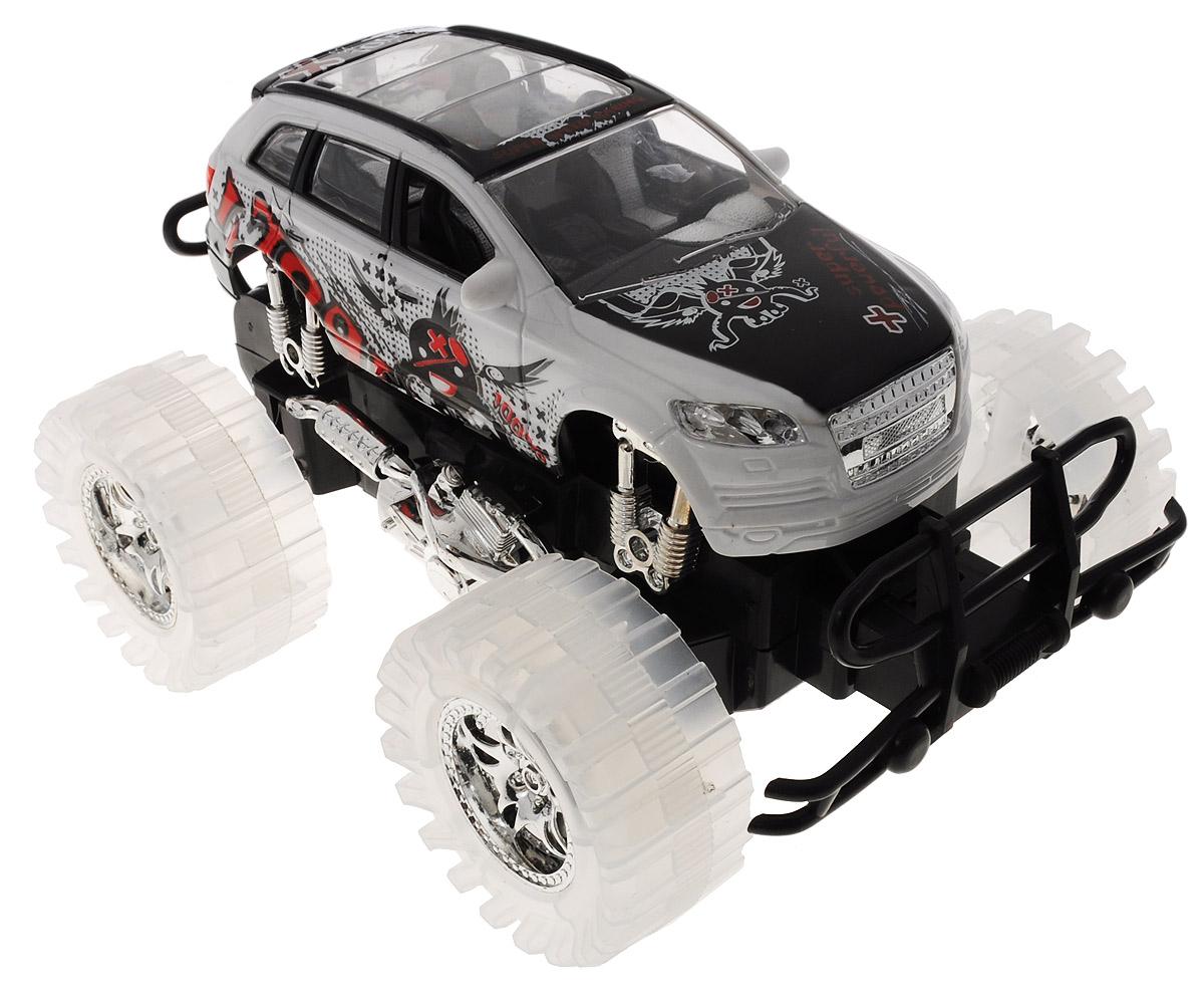 Пламенный мотор Машинка инерционная Автопарк цвет белый черный87479_белыйИгрушечный автомобиль Пламенный мотор Автопарк с инерционным механизмом обязательно понравится вашему малышу. Он привлечет внимание вашего ребенка и надолго останется его любимой игрушкой. Машинка выполнена из пластмассы с элементами металла. Благодаря инерционному механизму игрушка может двигаться самостоятельно, стоит только немного подтолкнуть машинку вперед или назад, а затем отпустить, и она поедет сама. При включении игрушки начнет звучать шум мотора, клаксон и музыка. Колеса подсвечиваются разноцветными огоньками. Игрушка развивает концентрацию внимания, координацию движений, мелкую моторику рук, цветовое восприятие и воображение. Малыш будет в восторге от такого подарка! Для работы игрушки необходимы 3 батарейки типа АG13 (товар комплектуется демонстрационными).