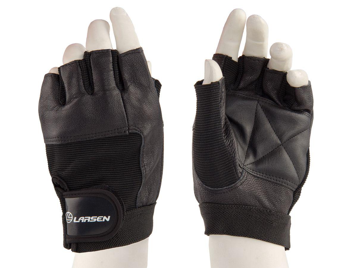 Larsen Перчатки для фитнеса Larsen, нат.кожа, черный, NT506, р. S